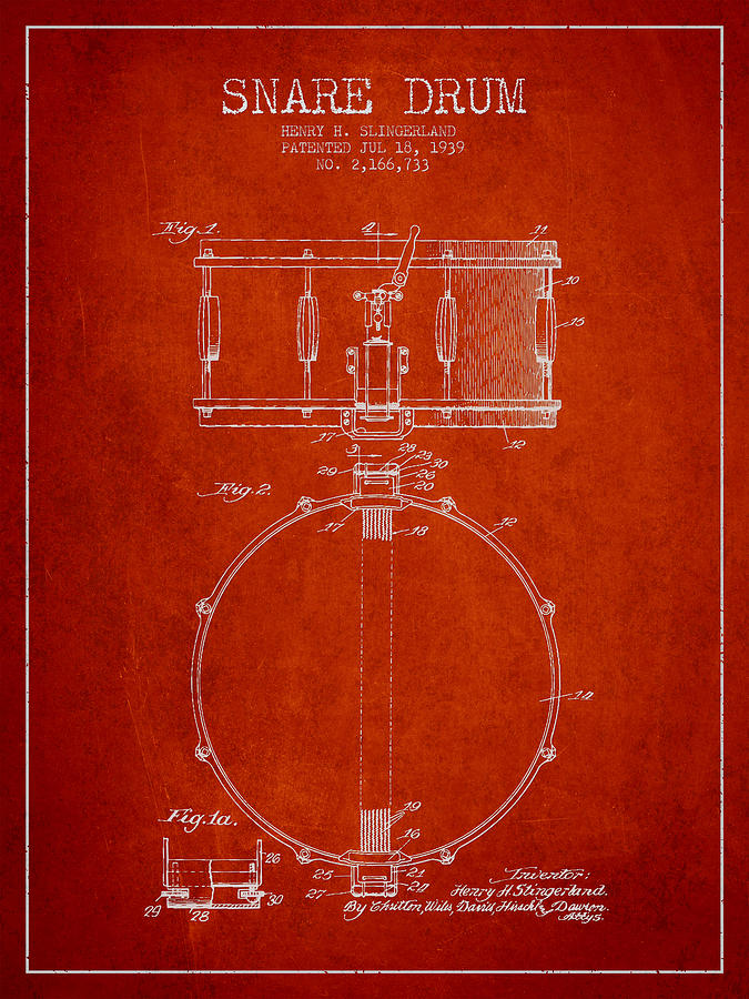 Snare Drum Drawing - Snare Drum Patent Drawing From 1939 - Red by Aged Pixel