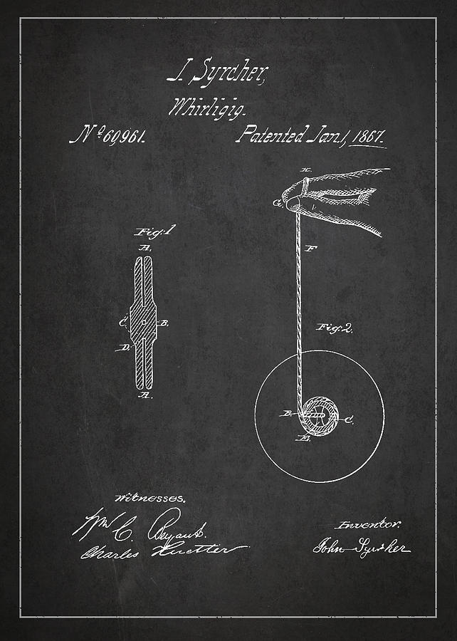 Vintage Yoyo Patent Drawing From 1867 Drawing