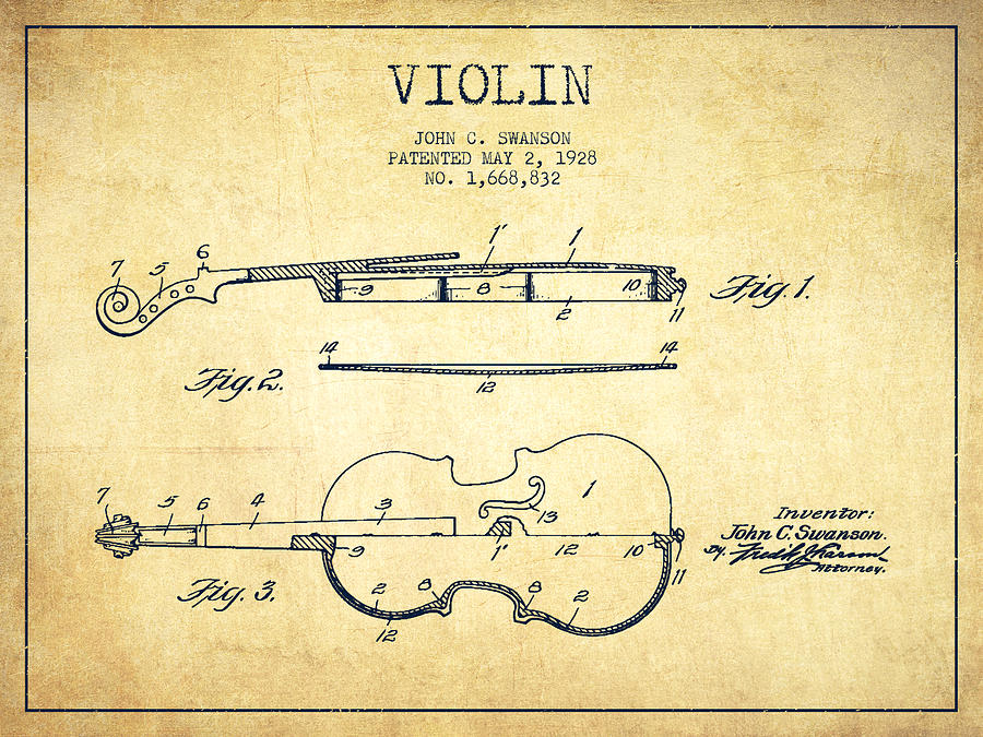 Violin Patent Drawing From 1928 Drawing By Aged Pixel