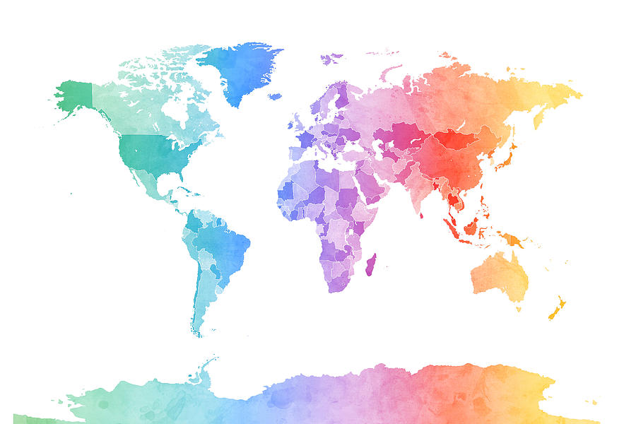 Watercolor Map Of The World Map Digital Art by Michael Tompsett