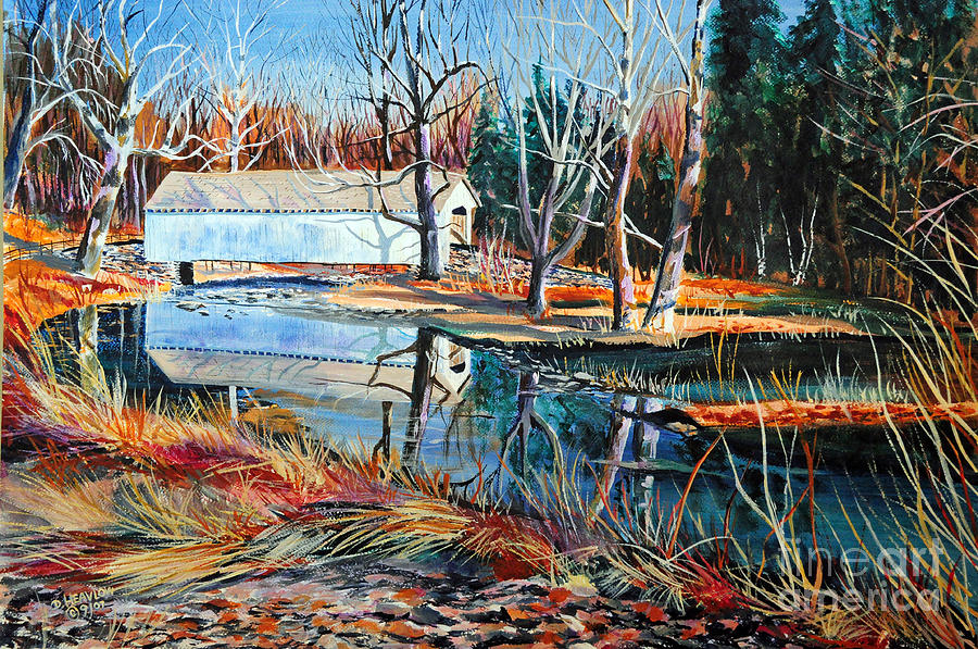 White Covered Bridge Painting