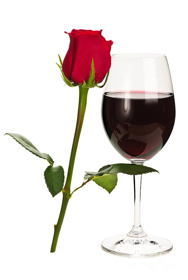 Wine With Red Rose Photograph