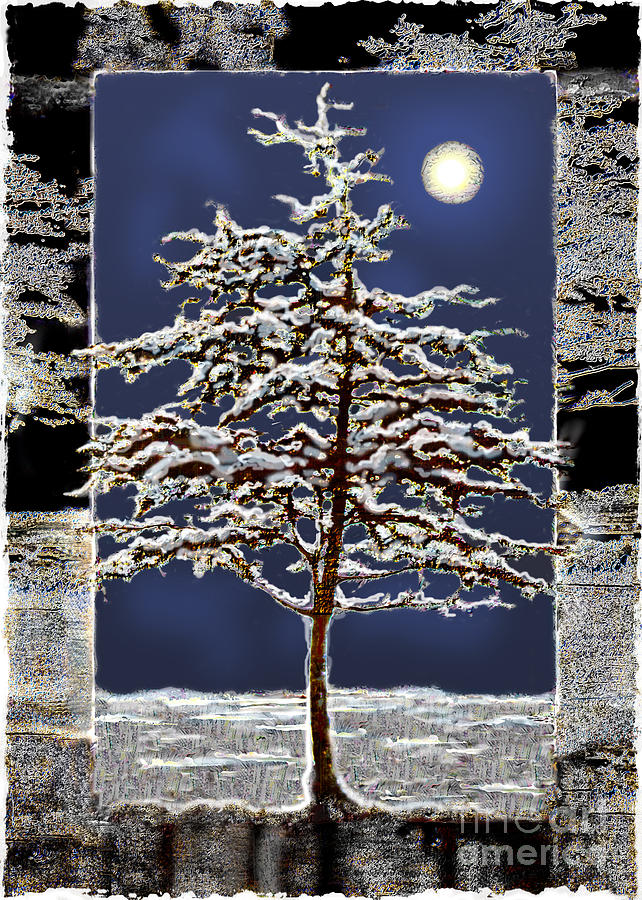 Winter Moon Digital Art  - Winter Moon Fine Art Print