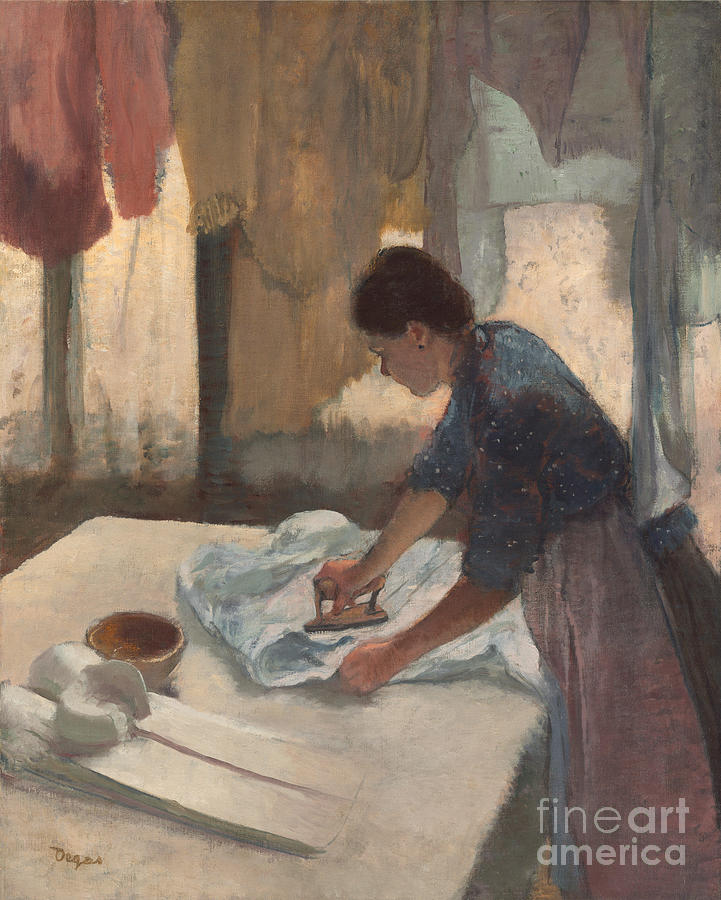 Impressionist; Female; Work; Servant; Maid; Domestic; Three; Quarter; Length; Side; View; Table; Iron; Washing; Line Painting - Woman Ironing by Edgar Degas