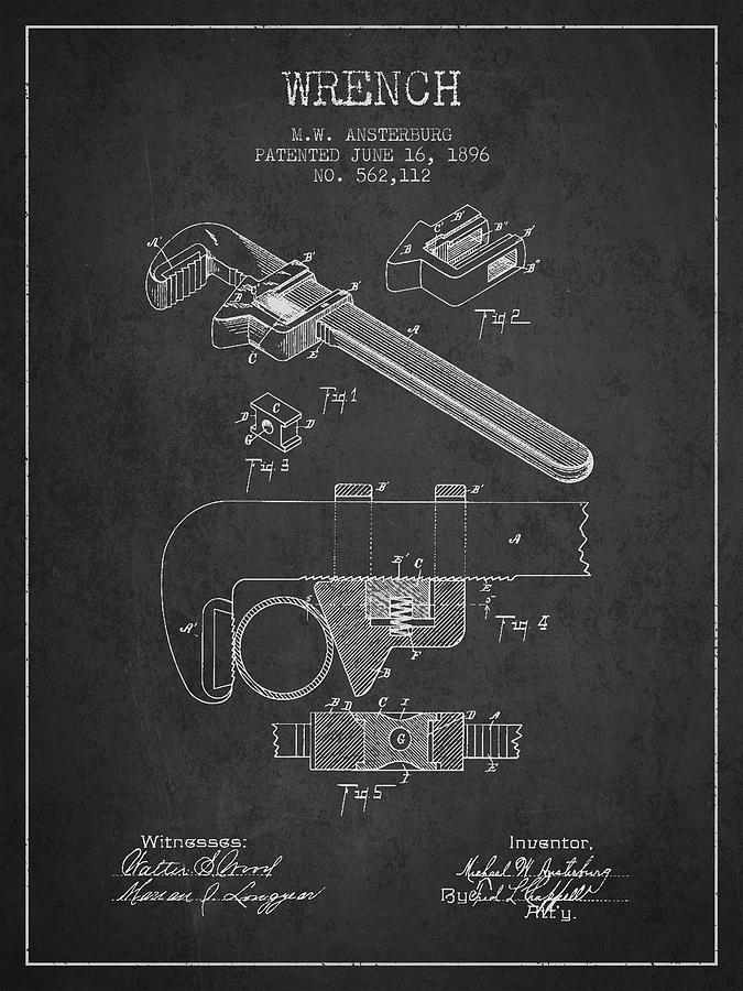 Wrench Patent Drawing From 1896 Drawing