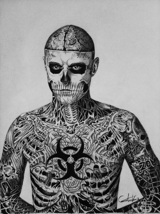 Zombie Boy Rick Genest Drawing By Carlos Velasquez Art