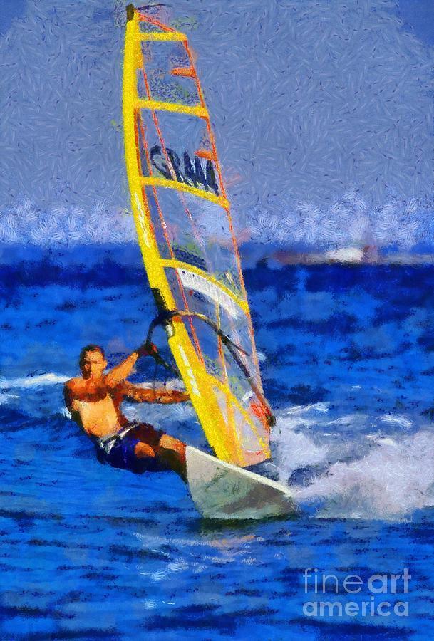 Windsurfing Painting - Windsurfing by George Atsametakis