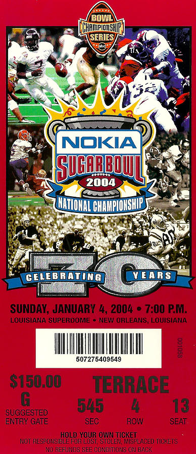 2004 National Championship Ticket - Lsu Vs Oklahoma Photograph  - 2004 National Championship Ticket - Lsu Vs Oklahoma Fine Art Print