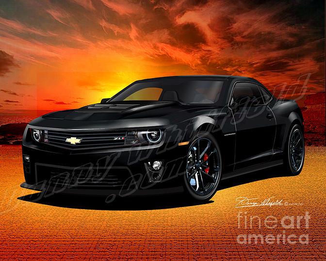 2012 Camaro Zl1 Black Drawing