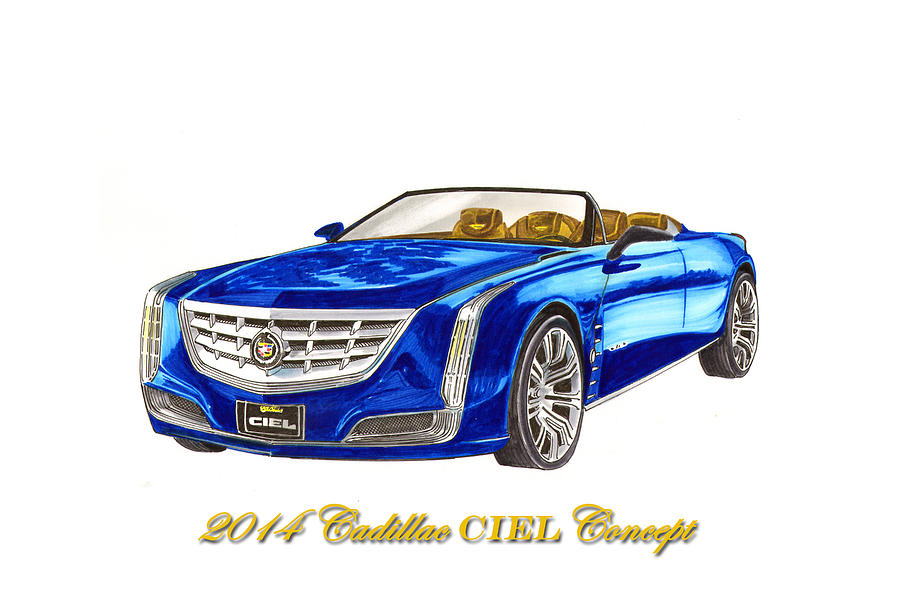 Classic Car Paintings Painting - 2014 Cadillac Ciel Concept by Jack Pumphrey