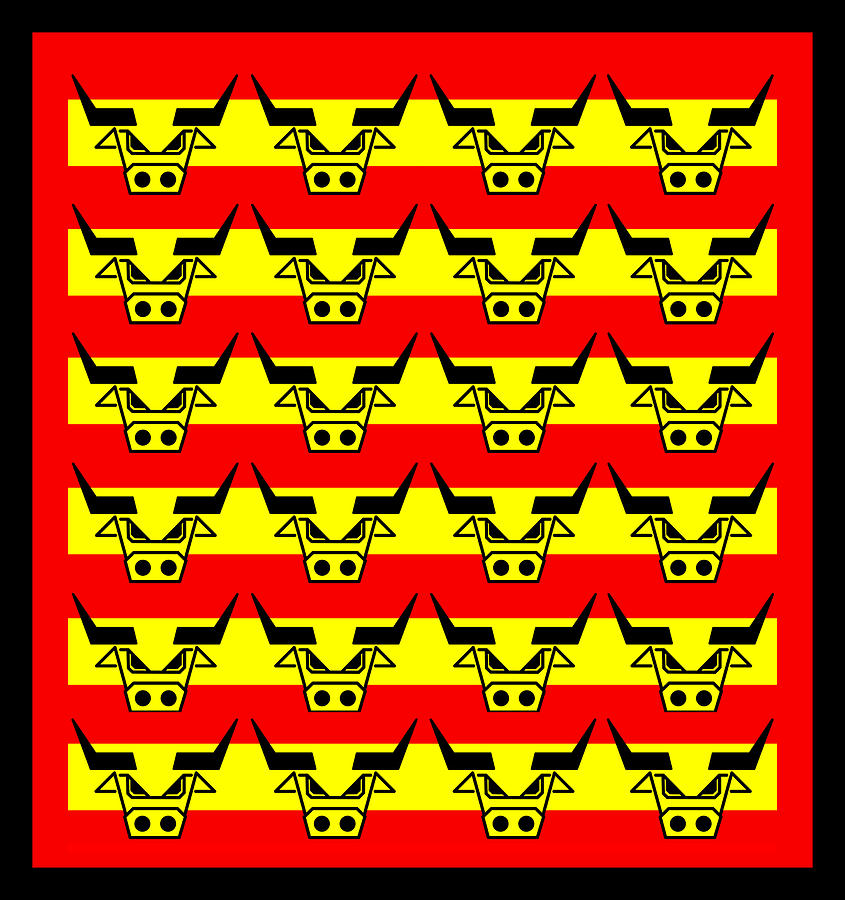 24 Spanish Bulls Digital Art  - 24 Spanish Bulls Fine Art Print