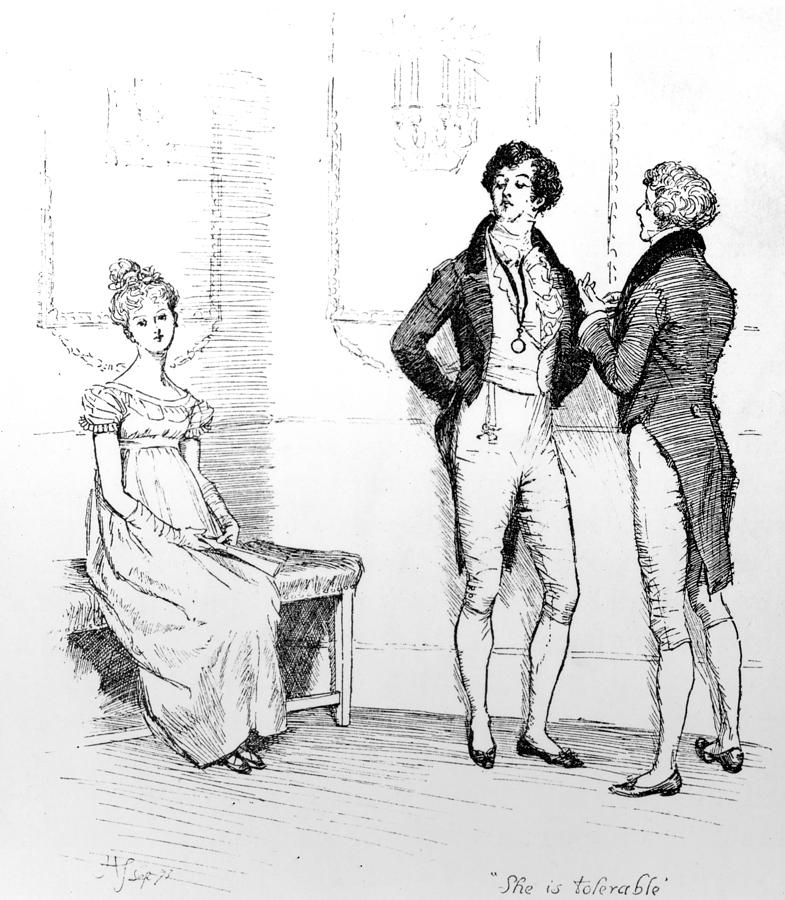 Scene From Pride And Prejudice By Jane Austen Drawing  - Scene From Pride And Prejudice By Jane Austen Fine Art Print