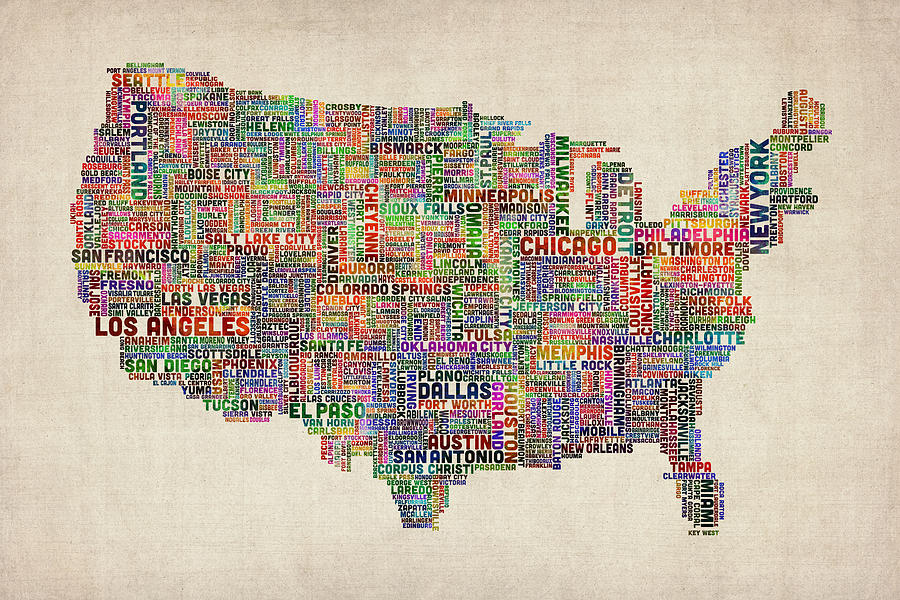 United States Typography Text Map Digital Art By Michael Tompsett