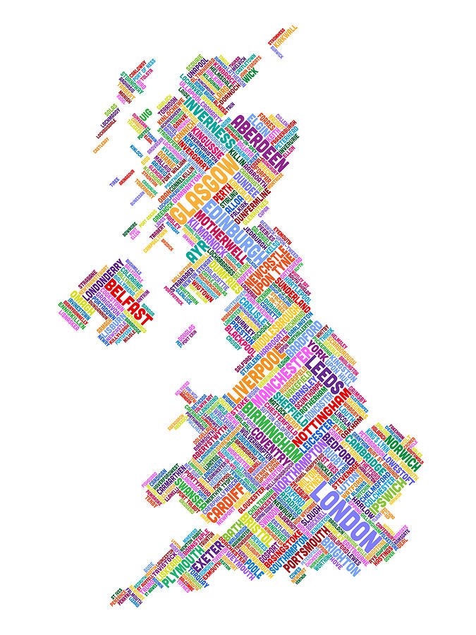 Great Britain Uk City Text Map Digital Art