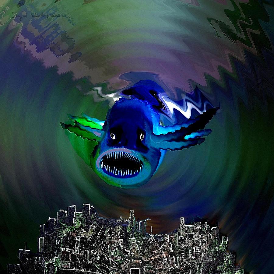 Atlantis Digital Art - 278 -   The Custodian Of Atlantis by Irmgard Schoendorf Welch