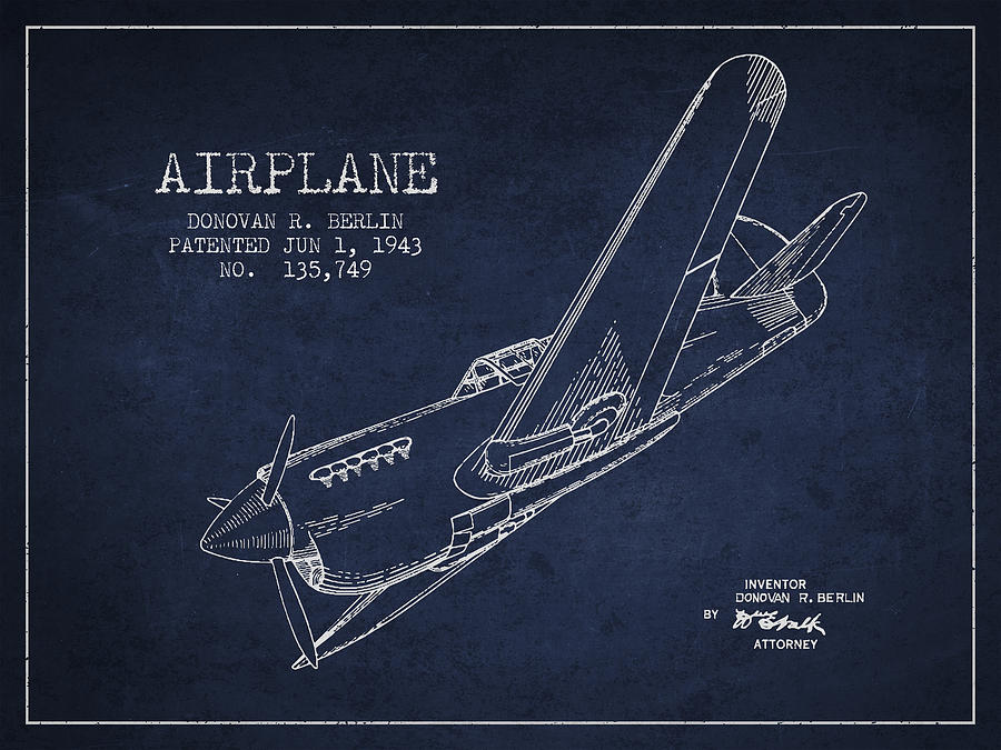 Airplane Drawing - Airplane Patent Drawing From 1943 by Aged Pixel