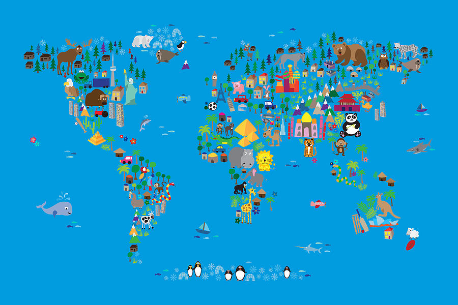 Animal Map Of The World For Children And Kids Digital Art