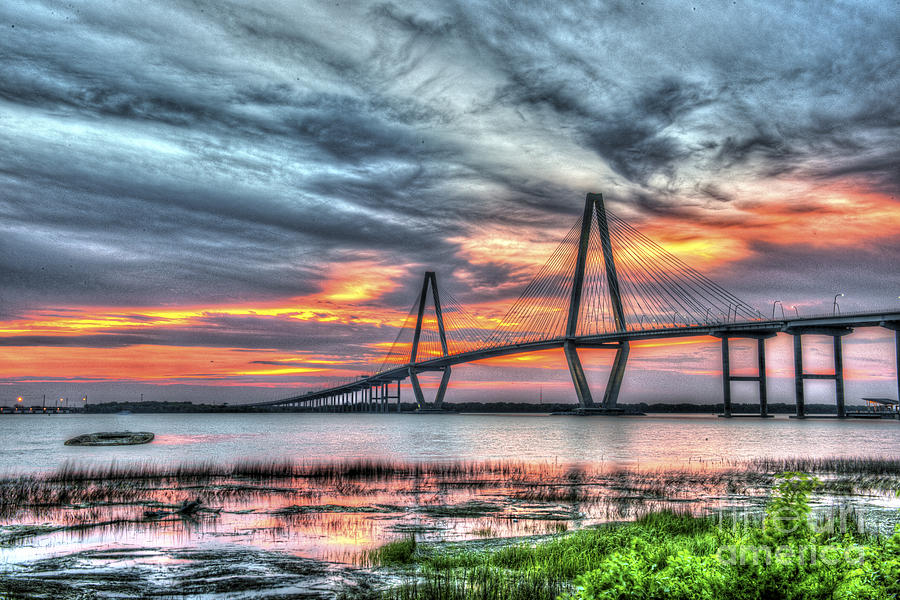 Arthur Ravenel Bridge Stormy Skies Photograph