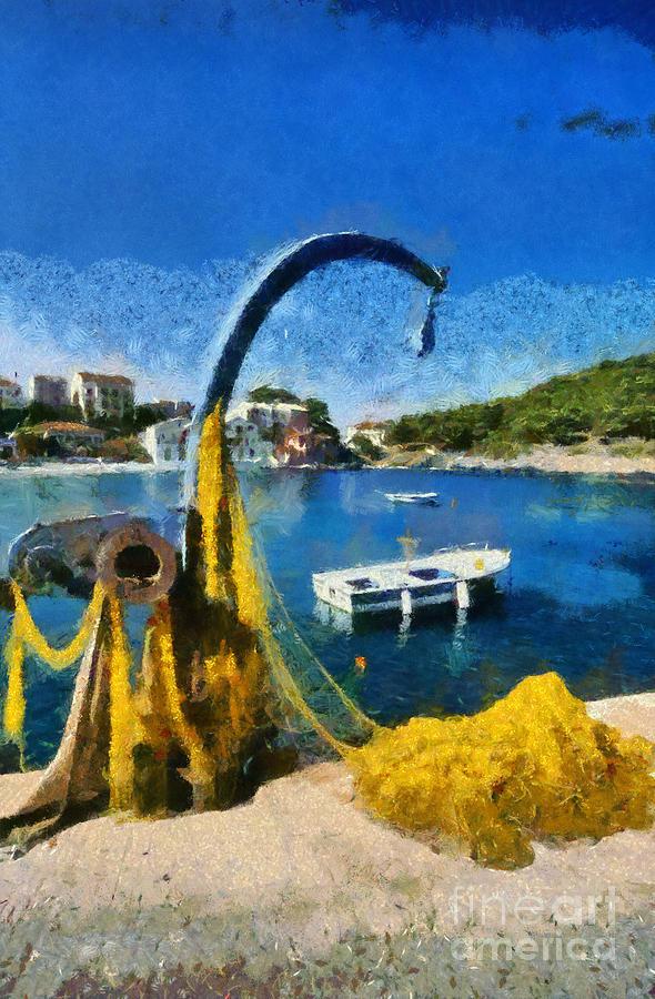 Asos Village In Kefallonia Island Painting
