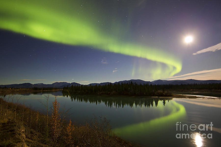 Aurora Borealis And Full Moon Photograph  - Aurora Borealis And Full Moon Fine Art Print