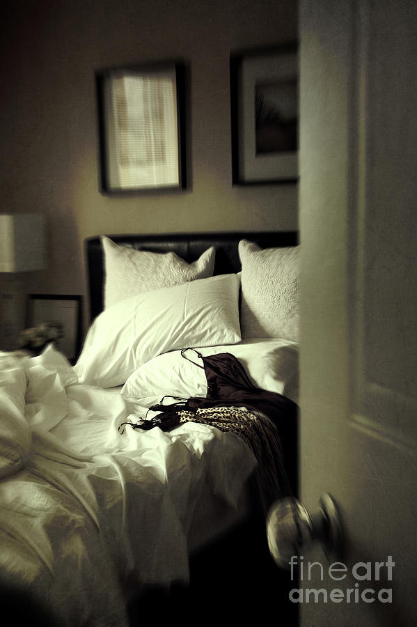 Bedroom Scene With Under Garments On Bed Photograph  - Bedroom Scene With Under Garments On Bed Fine Art Print
