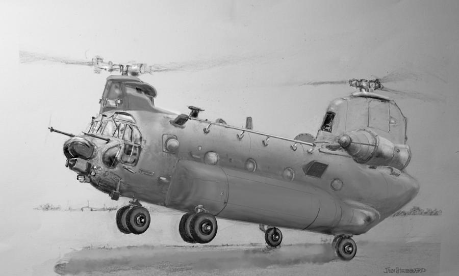 Ch 47 Chinook Helicopter Drawing by Jim Hubbard