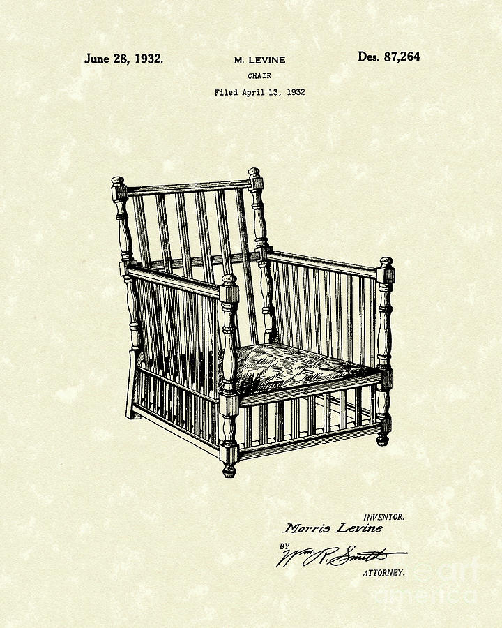 Chair 1932 Patent Art Drawing  - Chair 1932 Patent Art Fine Art Print