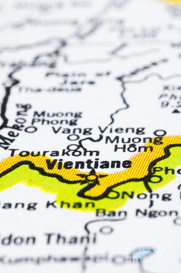 close up of vientiane on map-Laos Photograph