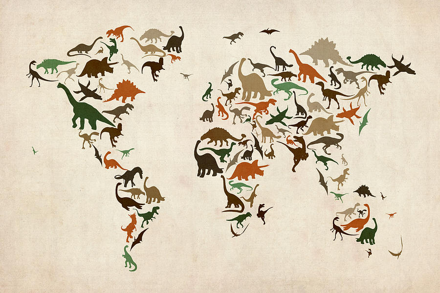 Dinosaur Map Of The World Map Digital Art