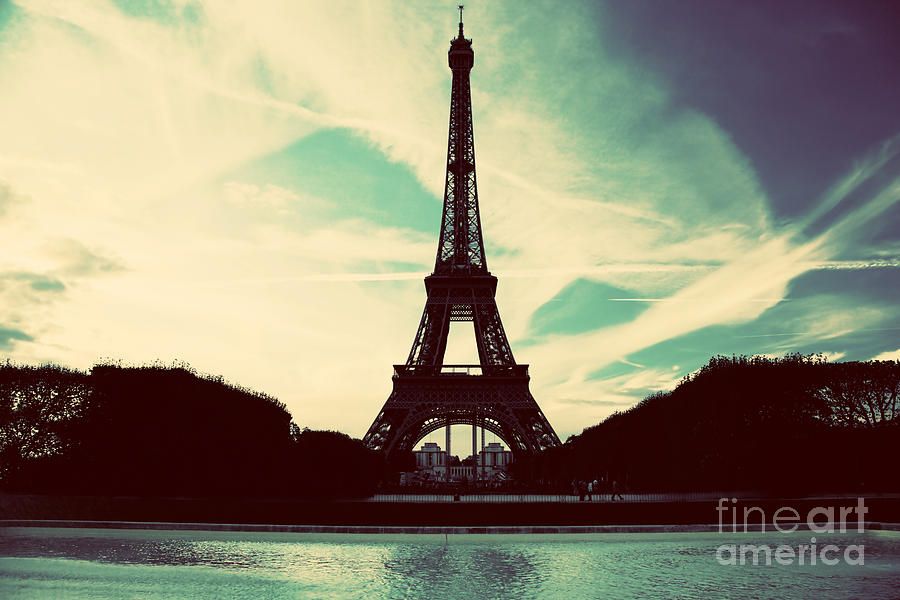 Eiffel Tower In Paris Fance In Retro Style Photograph  - Eiffel Tower In Paris Fance In Retro Style Fine Art Print