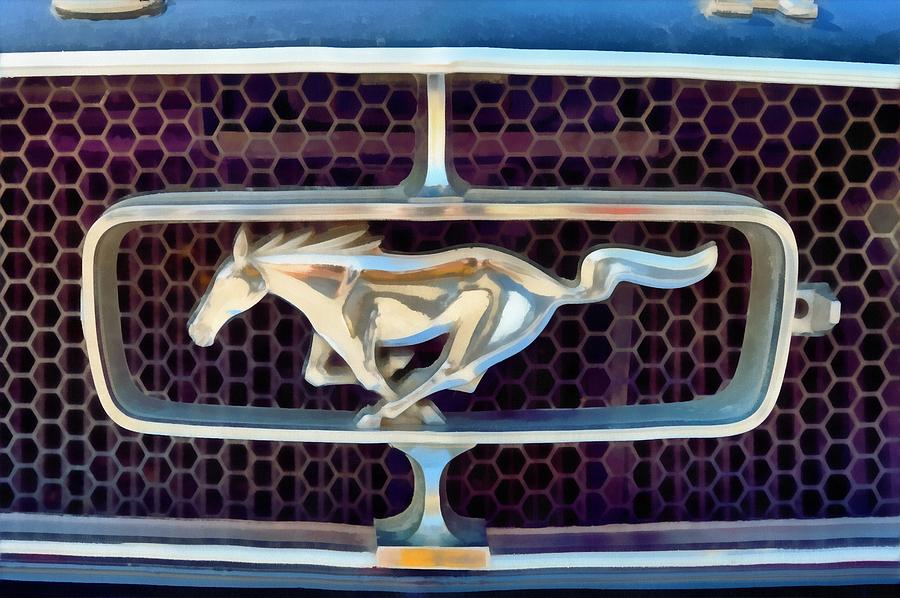 Ford Mustang Badge Painting  - Ford Mustang Badge Fine Art Print