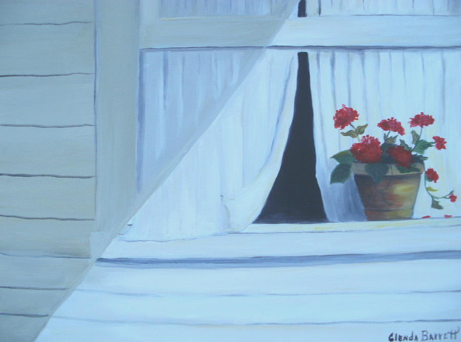 Geraniums On Windowsill Painting  - Geraniums On Windowsill Fine Art Print