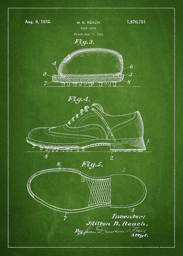 Golf Shoe Patent Drawing From 1931 Drawing