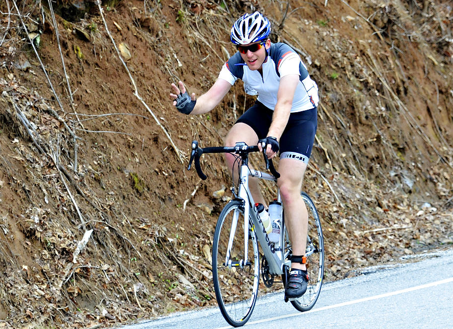 Sport; Ride; Recreation; Person; Miles; Man; Lifestyle; Leisure; Hobby; Healthy; Happy; Fundraiser; Fun; Event; Endurance; Cyclist; Century; Bike; Bicycle; Active; Action; 100; Mountains; Challenge; Terrain; Curves; Road; Endurance Photograph - Gran Fondo by Susan Leggett