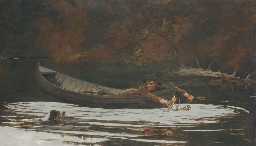 Deer; Canoe; River; Antlers; Hunting; Dog; Swimming Painting - Hound And Hunter by Winslow Homer