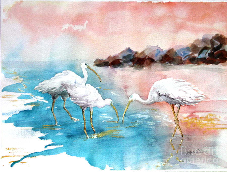 Ibis On The Beach Painting