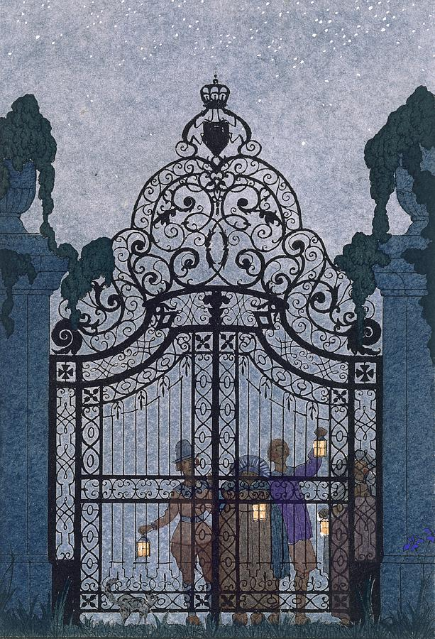 Gates Painting - Illustration For fetes Galantes  by Georges Barbier