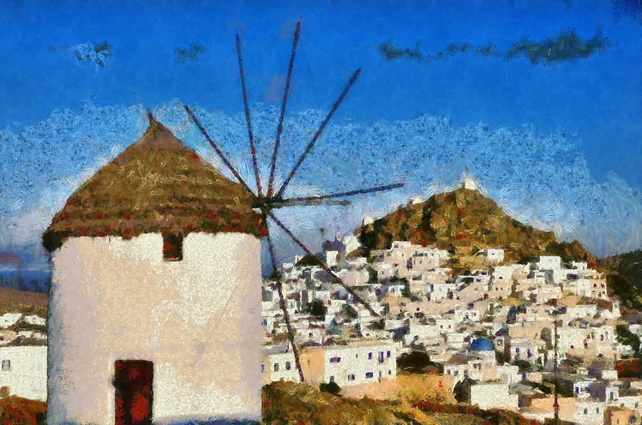 Ios Island And Windmill Painting  - Ios Island And Windmill Fine Art Print