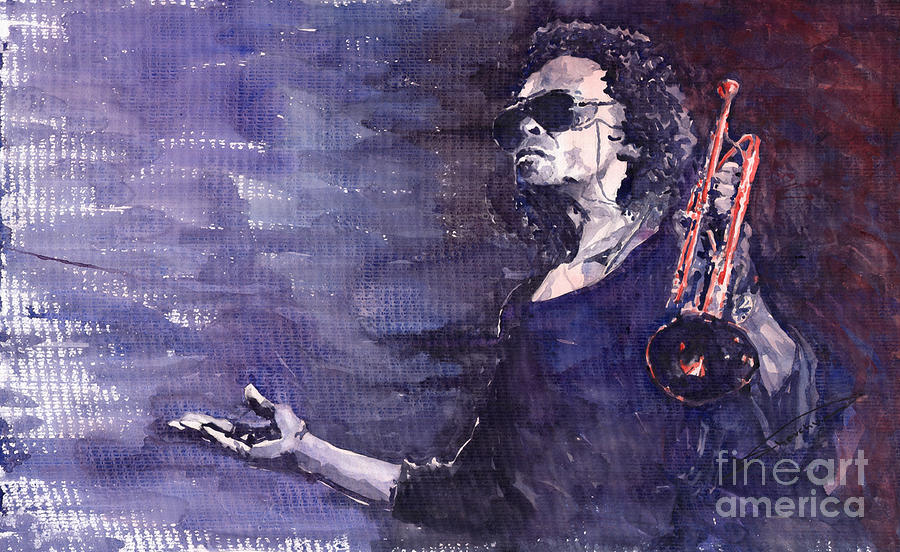 Jazz Painting - Jazz Miles Davis by Yuriy  Shevchuk