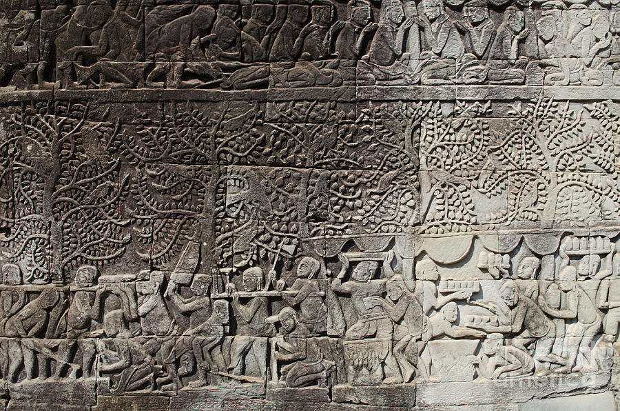 Khmer stone carvings angkor wat cambodia photograph by