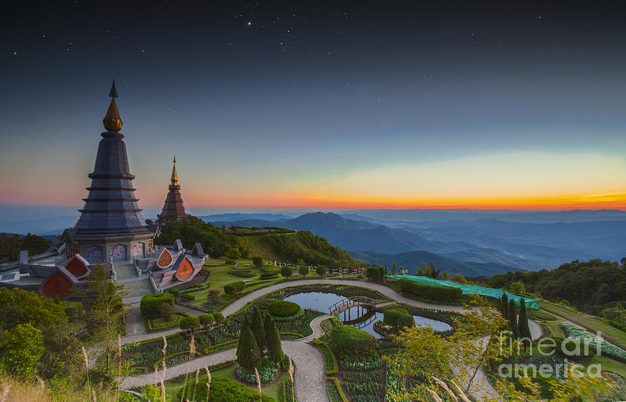 Landscape Of Two Pagoda At Doi Inthanon Photograph by Anek ...