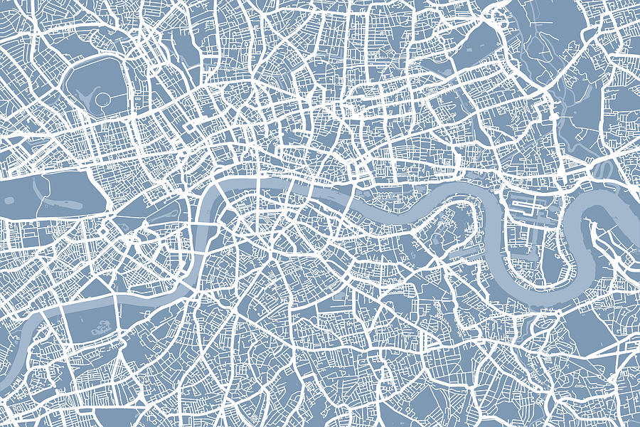 London England Street Map Digital Art  - London England Street Map Fine Art Print