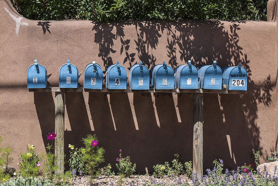 New Mexico Photograph - Mailboxes Santa Fe Nm by David Litschel