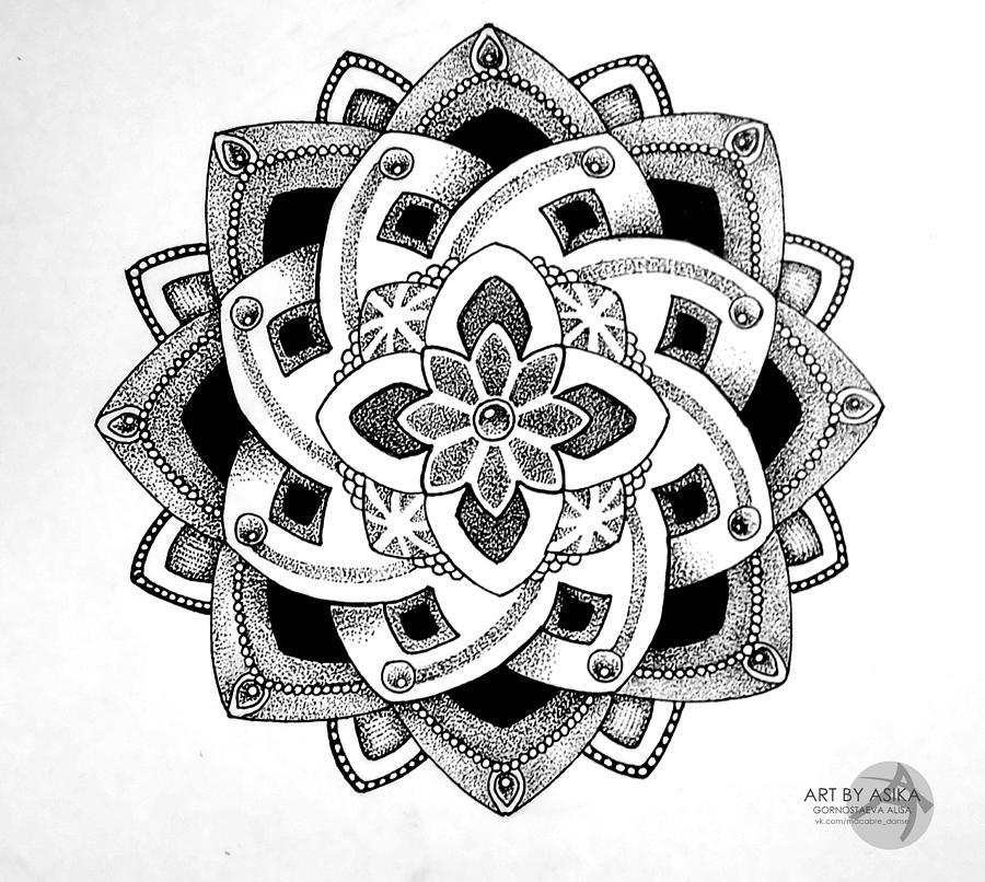 mandala dotwork tattoo sketch drawing by alisa gornostaeva. Black Bedroom Furniture Sets. Home Design Ideas