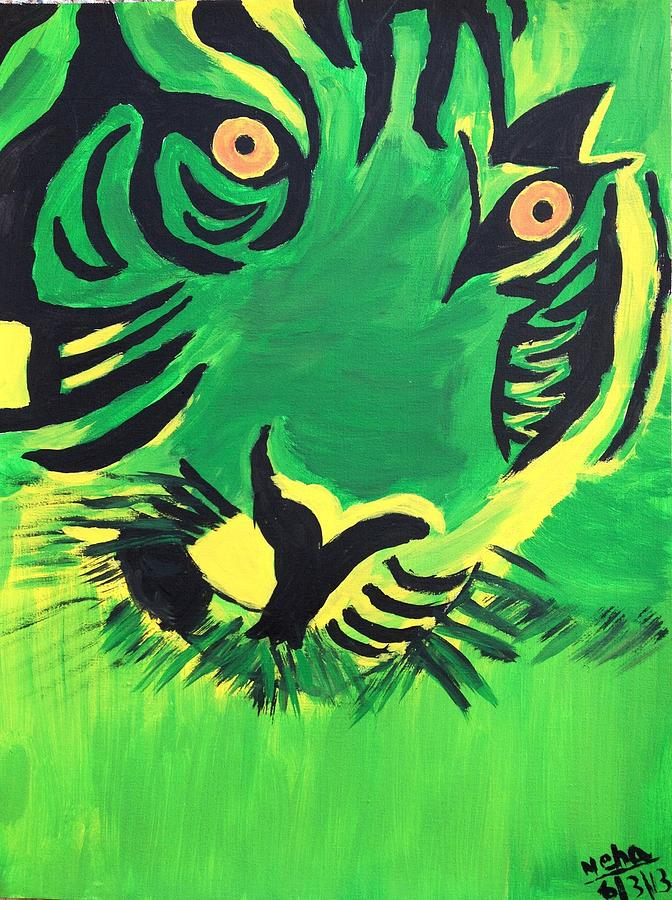 An Angry Green Tiger. Painting - Painting by Neha  Shah