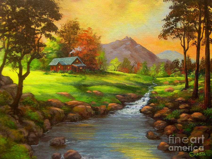 Serenity Landscapes Painting - Paradise  Valley  by Shasta Eone