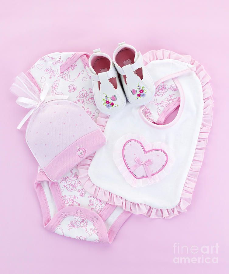 Pink Baby Clothes For Infant Girl Photograph  - Pink Baby Clothes For Infant Girl Fine Art Print