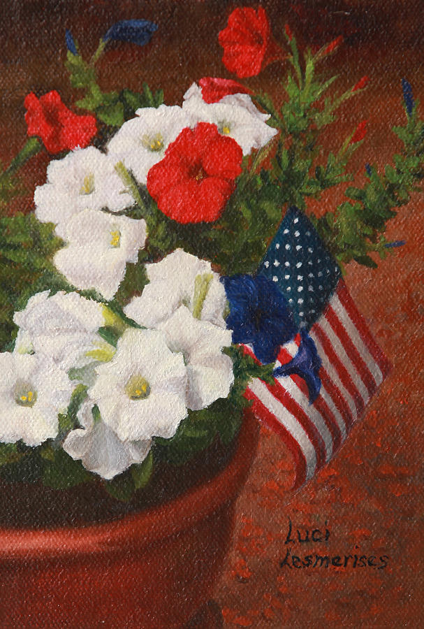 4th Of July Painting - Potted Petunias by Luci Lesmerises
