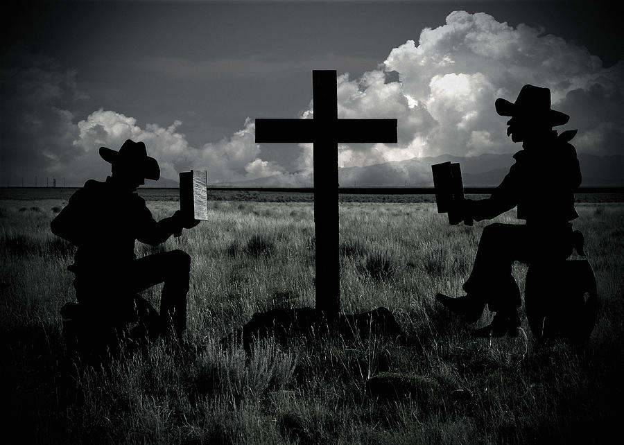 Praying Cowboys Photograph