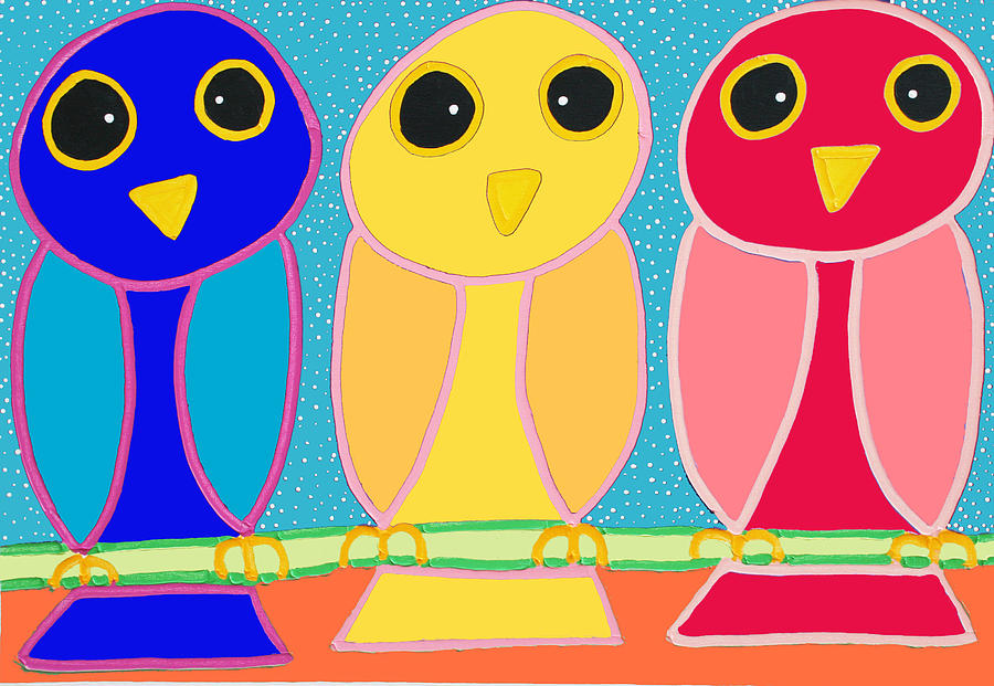 3 Primary Colored Owls Painting  - 3 Primary Colored Owls Fine Art Print